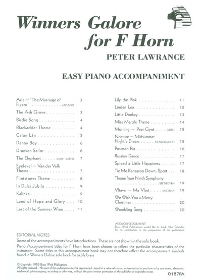 Winners Galore<br>Piano Accompaniment for Horn in F